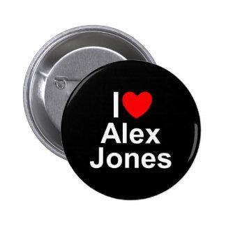 Amo (corazón) a Alex Jones Pin Redondo De 2 Pulgadas