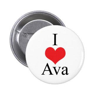 Amo (corazón) a Ava Pin Redondo De 2 Pulgadas