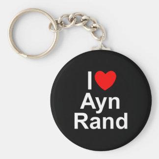 Amo (corazón) a Ayn Rand Llavero Redondo Tipo Pin