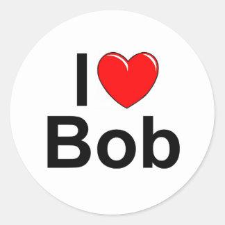 Amo corazón a Bob Etiquetas Redondas