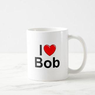 Amo (corazón) a Bob Taza Básica Blanca