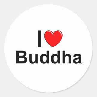Amo (corazón) a Buda Pegatinas Redondas