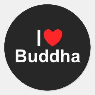 Amo (corazón) a Buda Pegatina Redonda