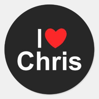 Amo (corazón) a Chris Pegatinas Redondas