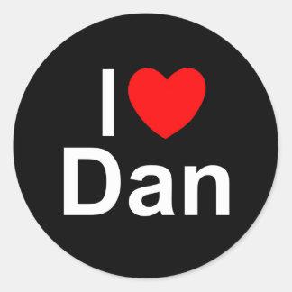 Amo (corazón) a Dan Pegatina Redonda