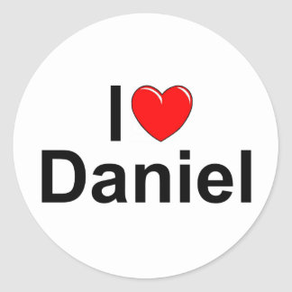 Amo (corazón) a Daniel Pegatina Redonda