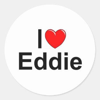 Amo (corazón) a Eddie Etiquetas Redondas