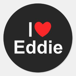 Amo (corazón) a Eddie Pegatina Redonda