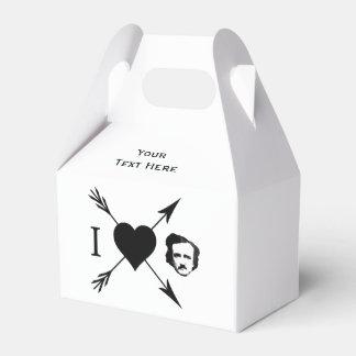 Amo (corazón) a Edgar Allan Poe Caja Para Regalos De Fiestas