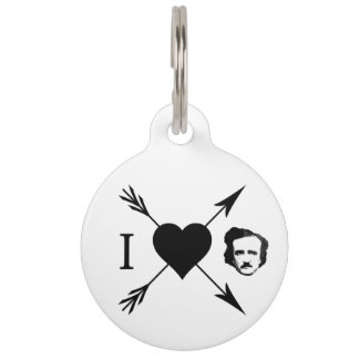 Amo (corazón) a Edgar Allan Poe Placa Para Mascotas