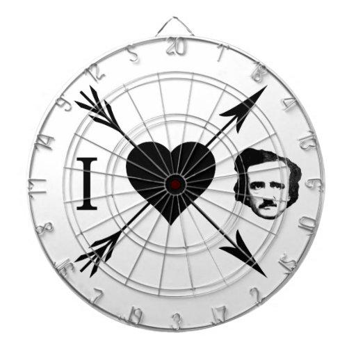 Amo (corazón) a Edgar Allan Poe Tablero Dardos