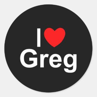Amo (corazón) a Greg Pegatina Redonda