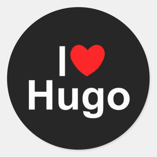 Amo (corazón) a Hugo Pegatina Redonda