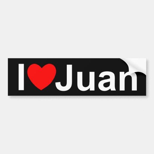 Amo (corazón) a Juan Etiqueta De Parachoque