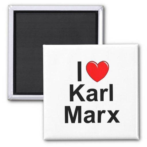 Amo (corazón) a Karl Marx Imán De Nevera