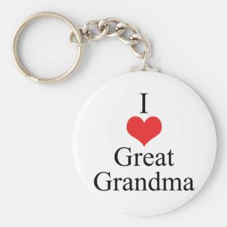 Amo (corazón) a la gran abuela llavero personalizado