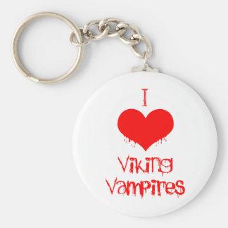 Amo (corazón) a los vampiros de Viking Llavero Redondo Tipo Pin