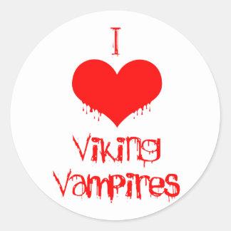 Amo (corazón) a los vampiros de Viking Pegatinas Redondas