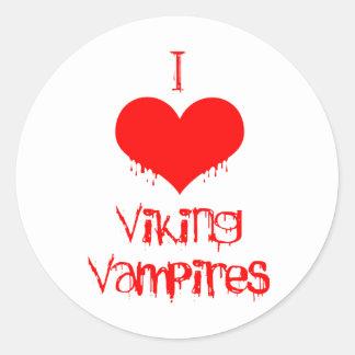 Amo (corazón) a los vampiros de Viking Etiqueta Redonda