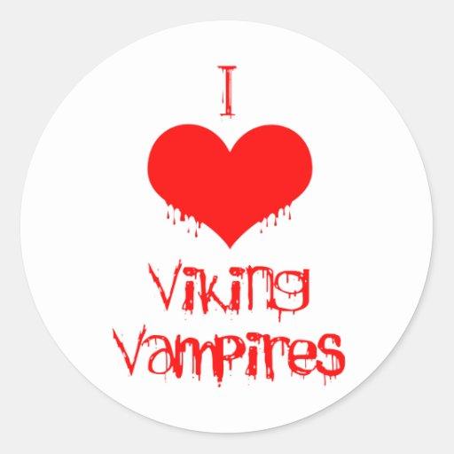 Amo (corazón) a los vampiros de Viking Pegatina Redonda