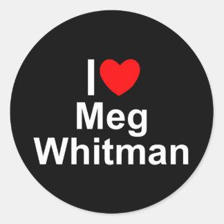 Amo (corazón) a Meg Whitman Pegatina Redonda