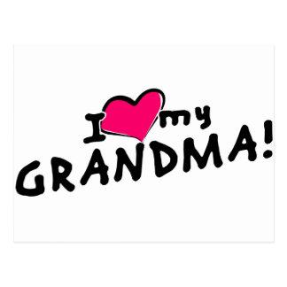 ¡Amo (corazón) a mi abuela! Postal