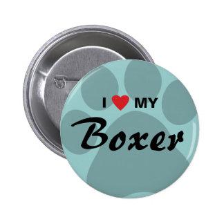 Amo (corazón) a mi boxeador Pawprint Pin Redondo 5 Cm