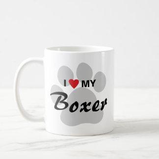 Amo (corazón) a mi boxeador Pawprint Taza Básica Blanca