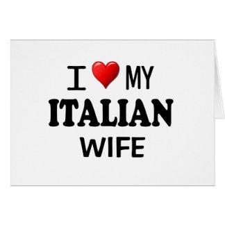 Amo (corazón) a mi esposa italiana tarjeta de felicitación