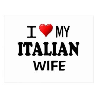 Amo (corazón) a mi esposa italiana tarjeta postal