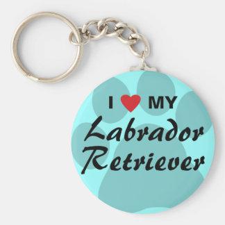 Amo (corazón) a mi labrador retriever Pawprint Llavero Redondo Tipo Pin