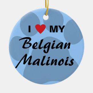 Amo (corazón) a mi Malinois belga Pawprint Ornamente De Reyes