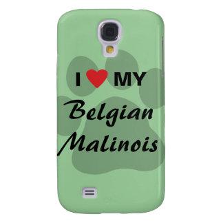 Amo (corazón) a mi Malinois belga Pawprint Funda Para Galaxy S4