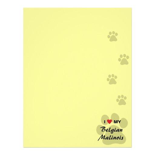 Amo (corazón) a mi Malinois belga Pawprint Membretes Personalizados