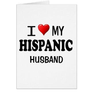 Amo (corazón) a mi marido hispánico tarjeta de felicitación