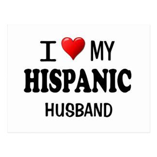 Amo (corazón) a mi marido hispánico tarjetas postales
