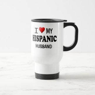 Amo (corazón) a mi marido hispánico taza térmica