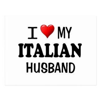 Amo (corazón) a mi marido italiano tarjetas postales