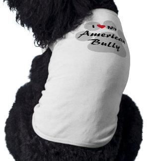 Amo (corazón) a mi matón americano playera sin mangas para perro
