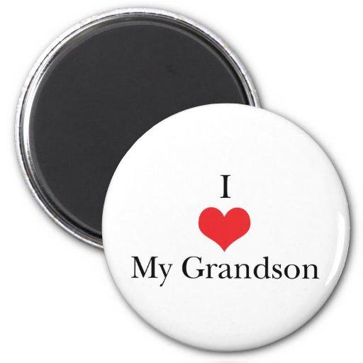 Amo (corazón) a mi nieto imán redondo 5 cm