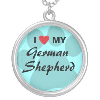 Amo (corazón) a mi pastor alemán Pawprint Colgante Redondo