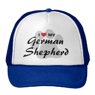 Amo (corazón) a mi pastor alemán Pawprint Gorro De Camionero