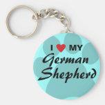 Amo (corazón) a mi pastor alemán Pawprint Llavero
