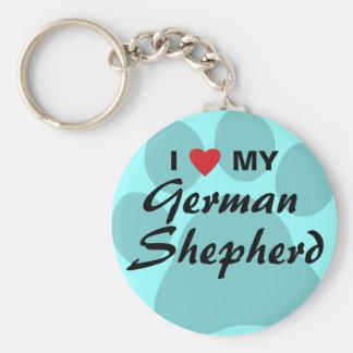 Amo (corazón) a mi pastor alemán Pawprint Llavero Redondo Tipo Pin