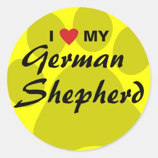 Amo (corazón) a mi pastor alemán Pawprint Pegatina Redonda