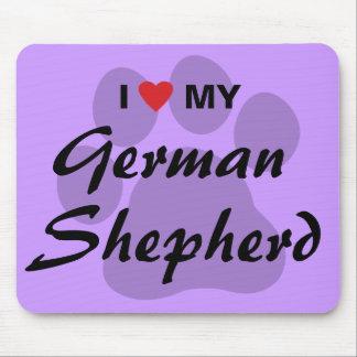 Amo (corazón) a mi pastor alemán Pawprint Alfombrilla De Raton