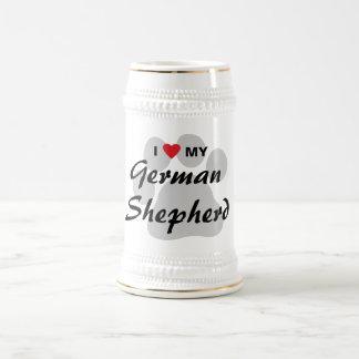 Amo (corazón) a mi pastor alemán Pawprint Jarra De Cerveza