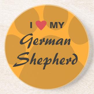 Amo (corazón) a mi pastor alemán posavasos para bebidas