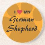 Amo (corazón) a mi pastor alemán posavasos cerveza