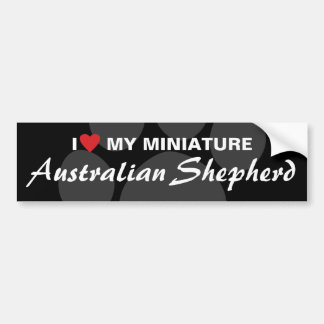 Amo (corazón) a mi pastor australiano miniatura pegatina para auto